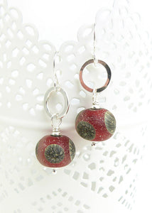 Red organic style lampwork glass bead and sterling silver drop earrings