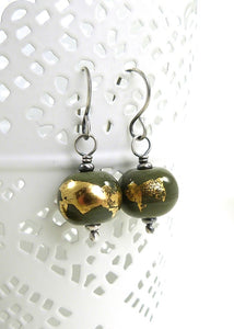 Olive green and gold leaf bead earrings with oxidised silver earwires