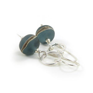 Slate Blue Lampwork Glass and Sterling Silver Drop Earrings