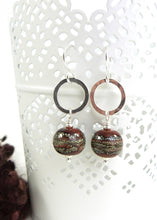 Brick red organic style lampwork bead and silver drop earrings