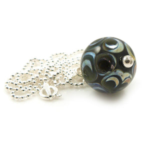 Green Dot Lampwork Glass Pendant with Silver Chain