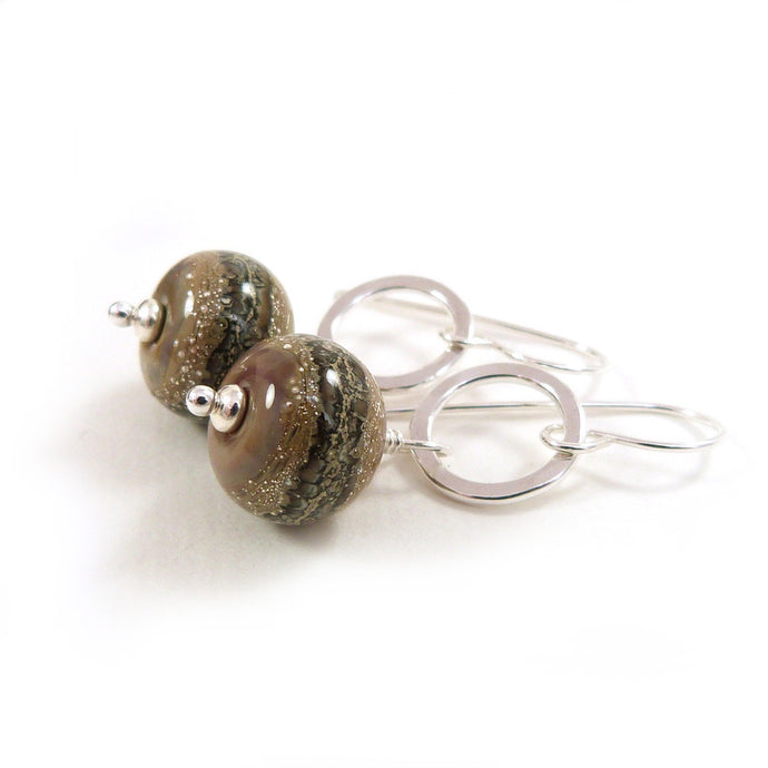 Warm Brown organic style lampwork bead and silver drop earrings