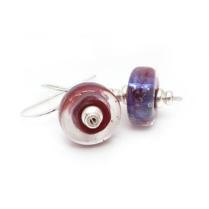 Red Purple Iridescent Lampwork Glass Bead and Sterling Silver Earrings