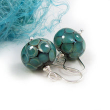 Teal green dot lampwork bead and silver drop earrings