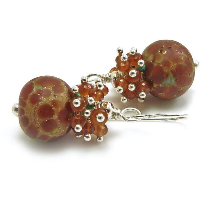 Copper Speckled Lampwork Glass Bead and Gemstone Drop Earrings