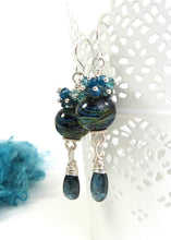 Long dangle earrings with lampwork glass beads, gemstone clusters and kyanite gemstone drops with sterling silver hooks