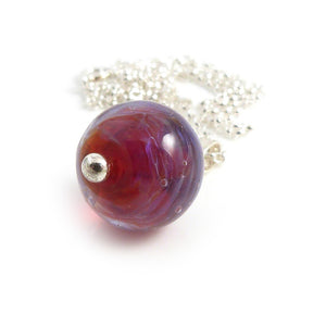 Magenta Silver glass lampwork bead pendnat with sterling silver chain
