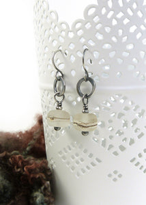 Etched organic style lampwork glass bead and blackened silver drop earrings