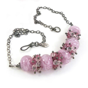 Pink lampwork glass bead, gemstone and silver necklace