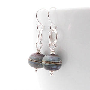 Soft multicoloured lampwork glass bead and silver drop earrings