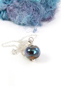 Metallic Peacock Glass Bead Pendant and Silver Chain