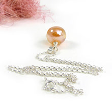 Apricot Yellow Single Glass Bead Pendant with Sterling Silver Chain
