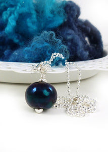 Black oil Slick lampwork glass bead pendant and sterling silver chain