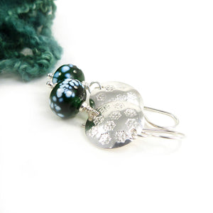 Silver Snowflake Disc and Deep Green Glass Bead Drop Earrings