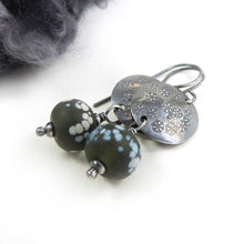 Dark Silver Snowflake Disc and Grey Glass Bead Drop Earrings