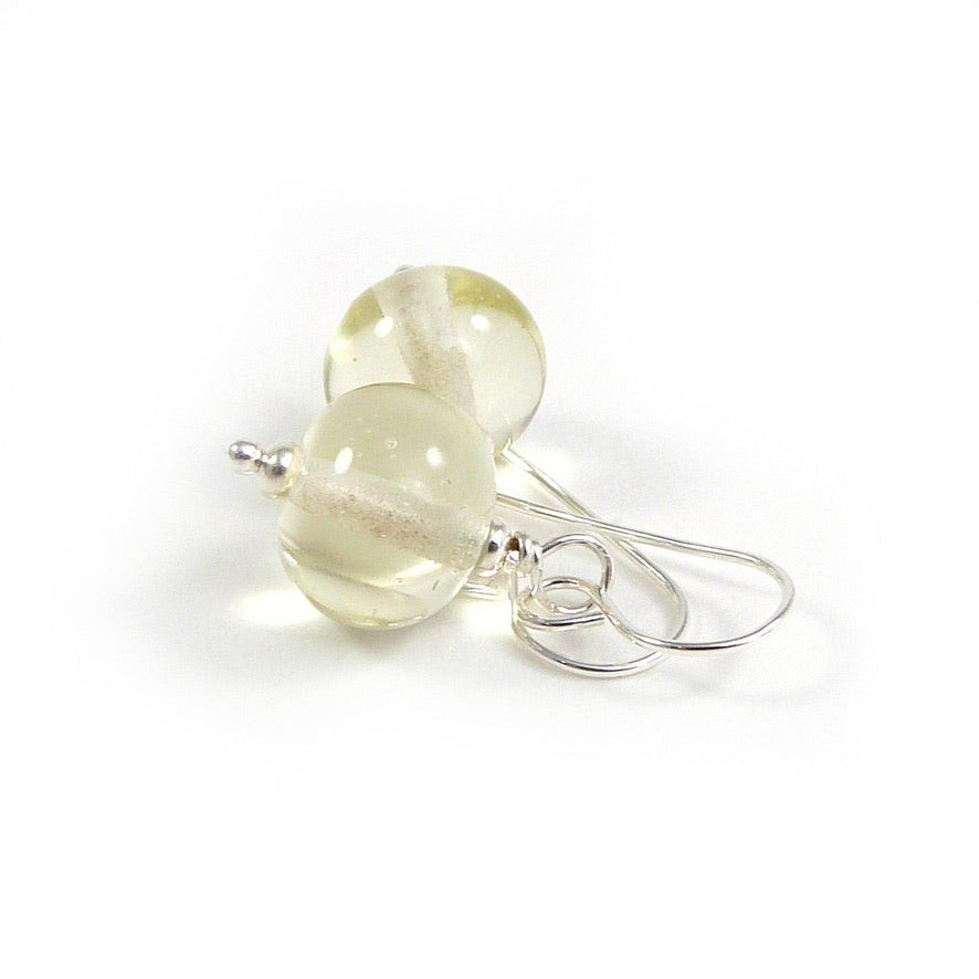 Pale yellow transparent lampwork glass bead and silver drop earrings