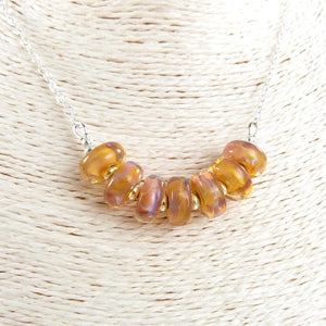 Sterling Silver Necklace with Yellow-Orange lampwork glass beads