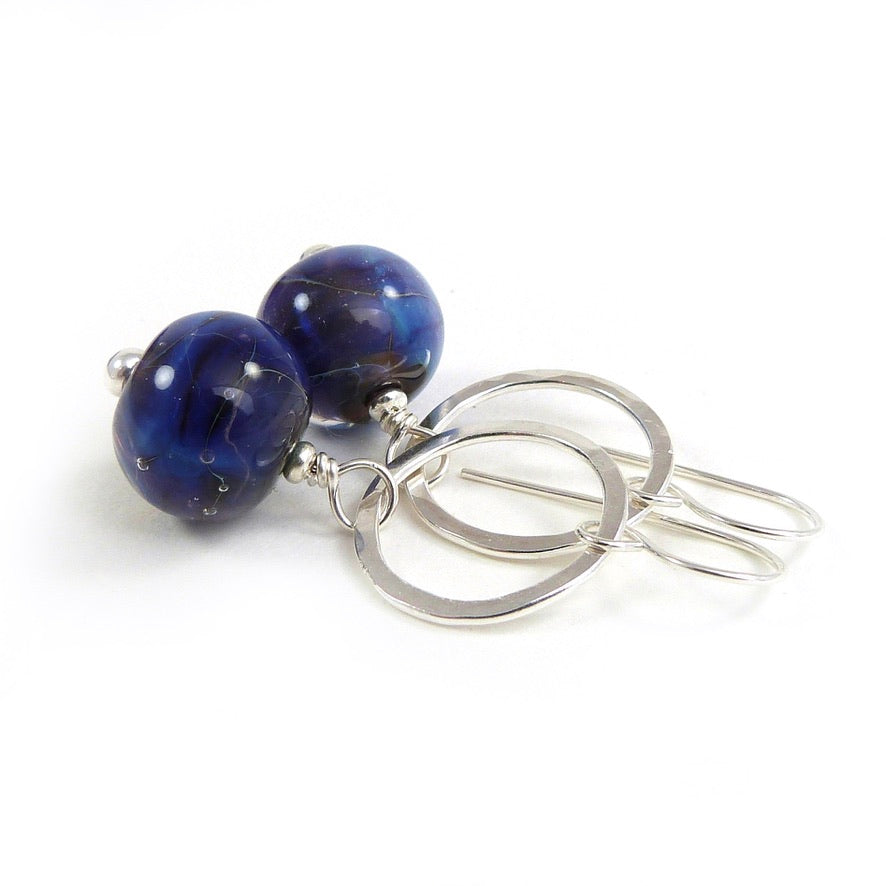 Indigo blue lampwork glass and silver circle drop earrings
