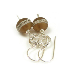 Warm Brown lampwork glass bead and sterling silver drop earrings