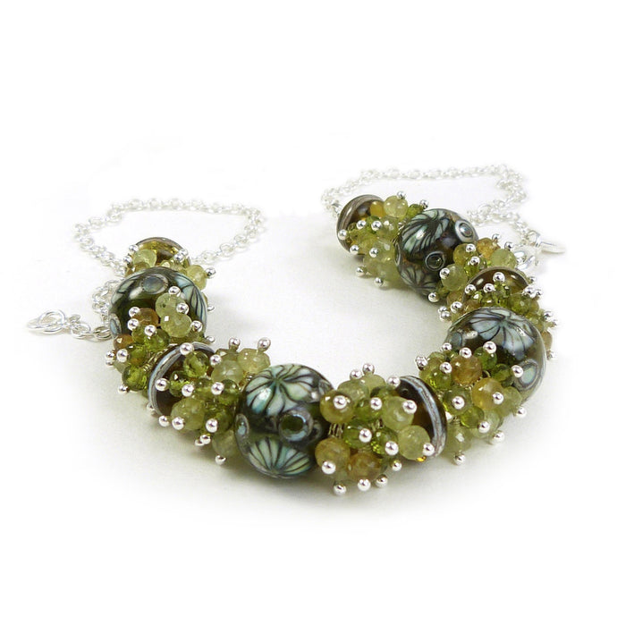 Green lampwork glass, gemstone and sterling silver necklace