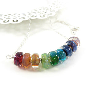 Rainbow lampwork bead and sterling silver bar necklace