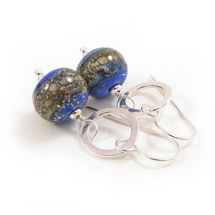 Periwinkle blue organic style lampwork glass bead and silver drop earrings