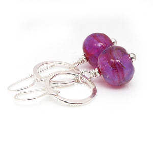 Drop Earrings with Silver Circles and Magenta Lampwork Glass Beads
