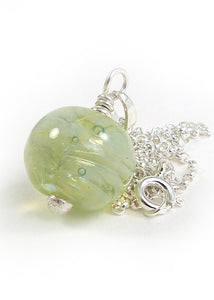 Pale Pearlescent Green Lampwork Glass Bead Pendant and Sterling Silver Chain