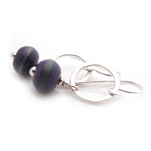 Drop Earrings with Silver Circles and Violet Lampwork Glass beads with green Stripes