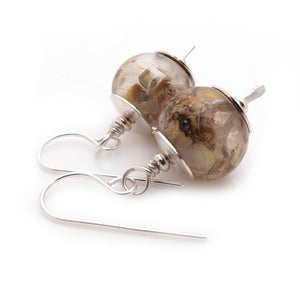 Cream and Brown Lampwork Glass Bead and Silver Drop Earrings