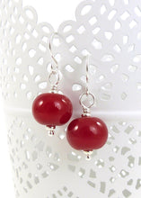 Red lampwork glass bead and sterling silver earrings