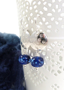 Silver Snowflake Disc and Deep Blue Glass Bead Drop Earrings
