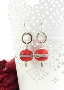 Red lampwork glass bead and silver drop earrings