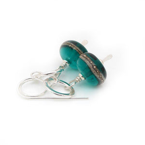 Teal Lampwork glass bead and silver drop earrings