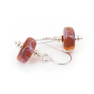 Amber lampwork glass bead and sterling silver drop earrings