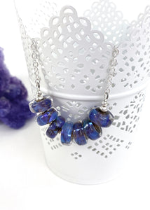 Blue Purple lampwork glass bead and sterling silver necklace