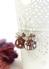 Copper lilac and whote lampwork glass bead and gemstone drop earrings
