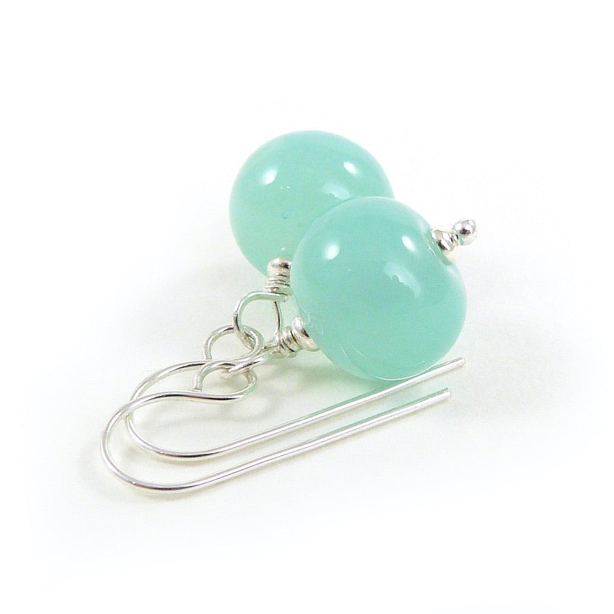 Pale Sea Green glass bead and silver earrings