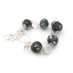 Chunky Silver Bracelet with grey and blue lampwork glass beads