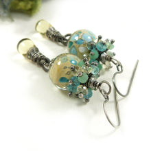 Yellow Lampwork glass bead, silver and gemstone long drop earrings