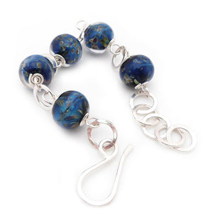 Blue lampwork glass bead and sterling silver chunky bracelet
