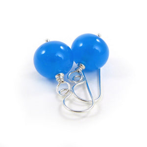 bright Blue lampwork glass bead and silver drop earrings