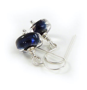 Dark Blue Lampwork Glass Bead and sterling silver drop earrings