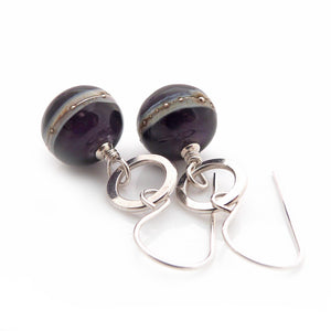 Violet Lampwork glass bead and silver drop earrings