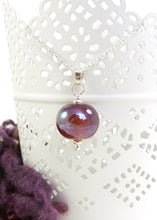 Raspberry Iridescent Lampwork Glass Bead Pendant and sterling silver chain