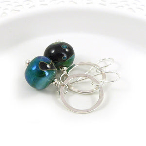 Metallic Green Lampwork Glass and Sterling Silver Drop Earrings