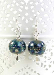 Blue Speckled Lampwork Glass Bead and Silver Drop EarringsB
