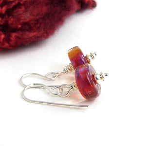 Ruby Red lampwork glass and sterling silver drop earrings