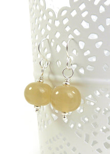 Yellow Lampwork Glass Bead and Silver Earrings