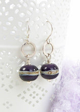 Violet Lampwork glass bead and silver drop earringsViolet Lampwork glass bead and silver drop earrings